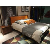 Best 2017 New design of  Leather Upholstered headboard Bed by Walnut wood frame for Young Apartment  bedroom furniture use wholesale