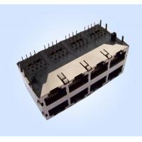 Side Entry/Right Angle Stacked RJ45 Modular Jack 8P8C Shielded 2X4 Multi-Ports with EMI