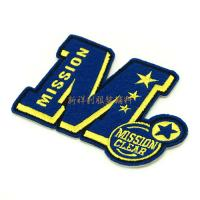 China Letter Shaped Clothing Embroidered Patches Heat Seal / Velcro / Adhesive Backing on sale