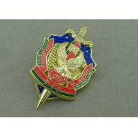 Best Brass Die Stuck Name Plate Pins , Hard Enamel Promotional Swarovski Metal Pin wholesale