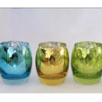 Best Egg Shape Glass Candle Cups Colored Blue Machine Pressed Custom Size For Wine wholesale