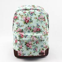 Best Oversized Flower Print Backpack , Brown Leather Canvas Backpack Customized Printing wholesale