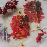 Best acrylic invitation magnetic wedding and envelope card double layers flower wholesale
