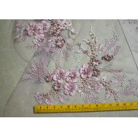 Best Embroidered 55 Inch Peach Color 3D Floral Rose Lace Fabric With Beads And Sequins wholesale