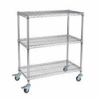 Best Custom Size Wire Utility Cart With Wheels / 3 Shelf ESD Wire Shelving wholesale