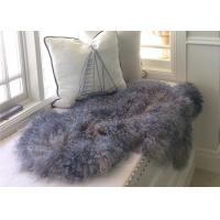 Best Genuine Grey Tibetan Mongolian Sheepskin Lambskin Bed Runner Throw Multiple Color Soft wholesale