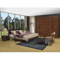 Best 2016 New Nordic Design Cow leather Headboard bed in Walnut wood Furniture and MDF panel Wardrobe in Wall cabinet wholesale