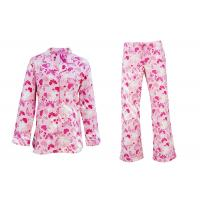 Best 100% Cotton Flannel Button Up Womens Pyjama Sets With Piping And Long Pants wholesale