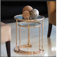 Best new style glass metal hallway stainless steel small side table tianjin port china wholesale
