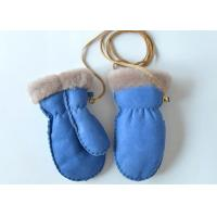 Best Warm Cozy Genuine Baby Boys / Girls Sheepskin Mittens with Ribbon for Winter wholesale