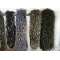 Best Fluffy Authentic Raccoon Fur Collar , Natural Color Raccoon Fur Hood Trim For Women wholesale