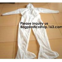Best Light Duty Disposable Protective Coveralls Suit Attached Non-Woven Fabric Hood Elastic Wrist Ankles and Waist Serged Sea wholesale