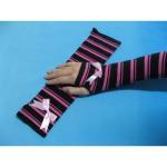 Best Fashion Custom Purple Black Stripe Eco-friendly Long Fingerless Gloves, Knitted Arm Warmer wholesale