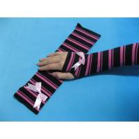 Best OEM Winter / Autumn Combed Cotton Girls Long Fingerless Gloves Striped  Knitted Arm Warmer wholesale
