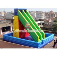 Best Outdoor Inflatable Climbing Wall With Water Slide Safety Obstacle Course wholesale