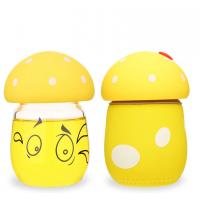 Best Lovely Cute Angry Mashroom Shape Kids Glass Water Bottle Bpa Free 200ml Volume wholesale