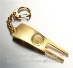 Best Pearl gold golf pitchfork repair key tags, functional golf divot repair tool keychains, wholesale