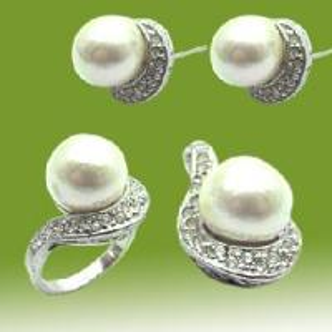 Best 925 Sterling Silver Pearl Jewelry Set (RSC5334) wholesale