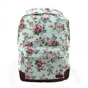 Best Classic Custom Canvas Backpacks / Floral School Bags Korea Style wholesale