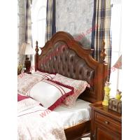 Best Leather Upholstery Headboard with Wooden Carving Frame in Bedroom Furniture sets wholesale