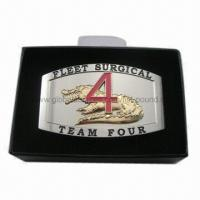 Fashionable Military Belt Buckles, 2-tone Plating, Enameling Logo, Packed in High Quality Box