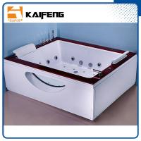 Best Indoor Double Whirlpool Tub With Oak Edge Cover , Seamless Air Bubble Bathtub wholesale