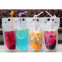 Best Lemonade / Cold Drinking Resealable Zip Lock Clear Stand Up Pouch With Straw wholesale