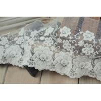 Best Soft Graceful White Nylon Lace Trim , Floral Wide Mesh Tulle Lace Trim By The Yard wholesale