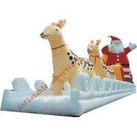 Best Inflatable Christmas Santa With Ride Reindeer Made Of PVC Tarpaulin For Christmas wholesale