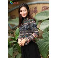 Best Body Shape Hugging Women Cheongsam Blouse Decorated With Green Button wholesale