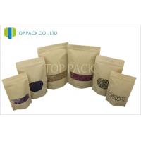 Best Window Kraft Paper Stand Up Pouch With Zipper , Small Brown Kraft Paper Bags wholesale