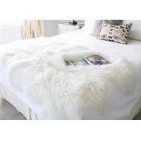 Best 120*180cm Long Wool Real Mongolian Fur Fabric , White Sheepskin Rug For Nursery  wholesale