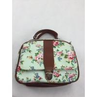 Best Leather Handle Small Canvas Shopping Bag Flowers , Cute Reusable Tote Bags Full Color Printing wholesale