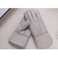 Cheap Double Face Winter Sheepskin Leather Gloves With Lambswool Lining / Natural Dyed for sale