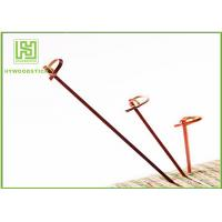 Best Red Bamboo BBQ Sticks Knotted Bamboo Skewers For Fruit 70 / 80 / 105 / 120mm wholesale