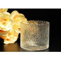 Best Leaf Pattern decorating clear glass candle holders for wedding , 18oz wholesale