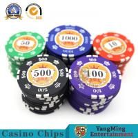 Cheap 14g Iron Core Gambling Poker Chip Set With Sticker Numbers  Circular for sale