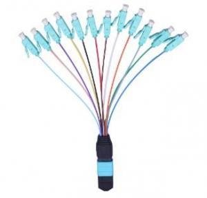 Best 12 color 12 cores MPO to LC OM3 fanout fiber patch cord 0.9mm cables wholesale