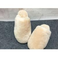 Best Indoor Fluffy Sheep Wool Slippers Handmade With Rubber Sole / Real Lambskin Fur wholesale