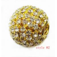 Best Rhinestone Shamballa Alloy Bead Jewelry , Gold Crystal Pave Ball Beads 16mm wholesale