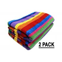 Best Promotion Cotton Beach Towels Colorful Stripe Pattern With Soft Hand Feeling wholesale