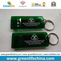 Best Customized Green Flat Alerting Whistle White Logo Printed w/Key Ring wholesale