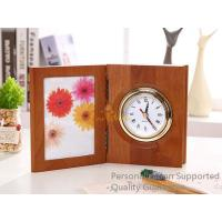 Best Good Quality Home/Office Decoration Matte Walnut Photo Frame Desk Top Table Clock, Small Order, Quality Guarantee wholesale
