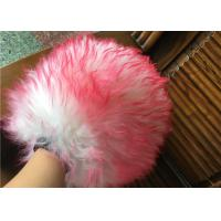 Best Household Red Color Sheepskin Car Wash Mitt With Long Hair / Both Side Wool wholesale