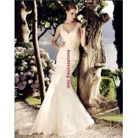 beautiful Deep V Neck Mesh mermaid Wedding Dresses Women Lace Wedding Gowns