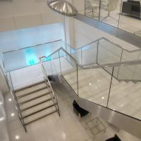 Cheap Beautiful Modern Design Double Cantilevered Steel Wood Stringer Glass Staircase for sale