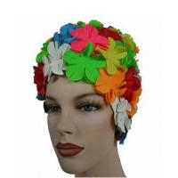 Best Luxury Divas Vintage Style Colorful Petals Latex Swim Bathing Cap wholesale