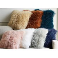 Best Living Room 16 Inches Mongolian Fur Pillow Long Curly Hair With Micro Suede Lining wholesale