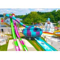 Best Open / Close High Speed Water Slide Red And Blue Fiberglass Commercial Equipment wholesale