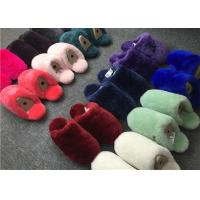 Best Dyed Colors Indoor Womens Fur Lined Slippers Soft Sole Moisture Absorption wholesale